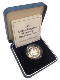 1993 Silver Proof One Pound Coin for sale